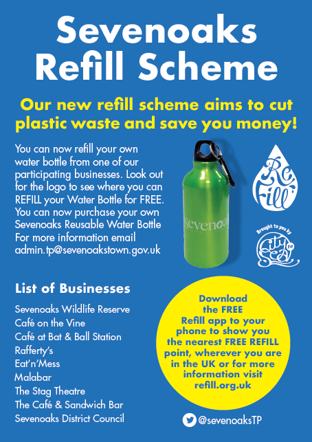 Poster explaining the sevenoaks refill scheme. Download the FREE REFILL app to find where you can refill your water bottle for free.