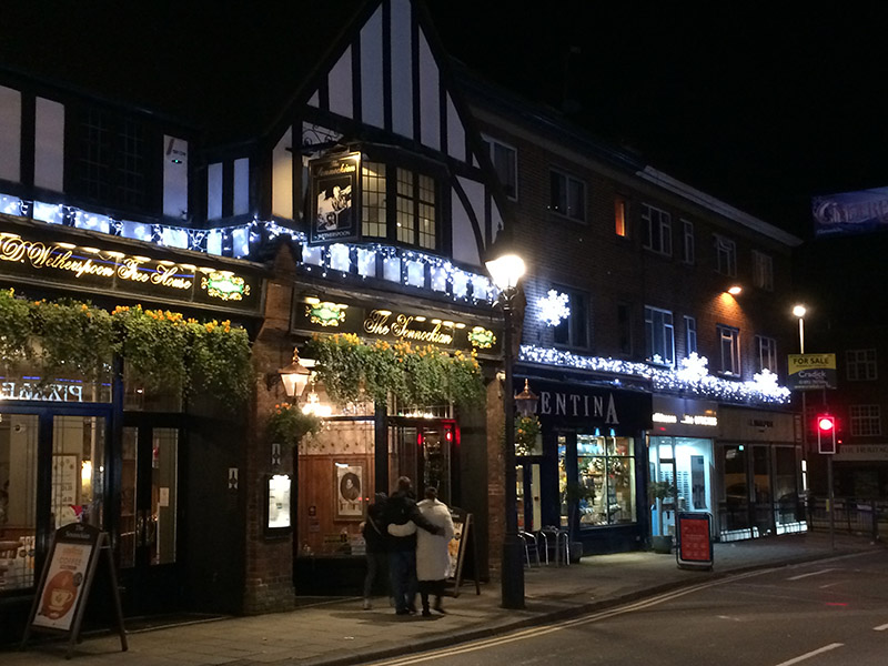 christmas lights outside a pub